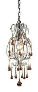 Elk 12013/1AMB Opulence 1-Light Pendant In Rust And Amber Crystals