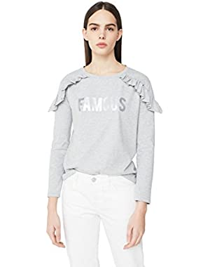 Mango Women's Ruffled Message T-Shirt