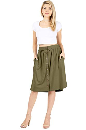 Olive Green Plus Size Skirt for Women A Line Button Down Plus Skirts Knee Length (Size 2X, Olive)