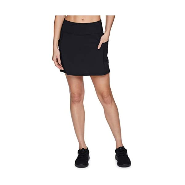 RBX Active Women's Fashion Stretch Knit Flat Front Golf/Tennis Athletic Skort with Attached Bike Short and Pockets 9