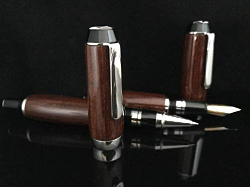El Toro and El Presidential Platinum Pen set - Cocobolo Wood - Fountain and Rollerball - gift - 1073