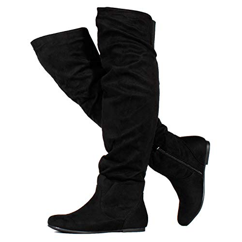 RF ROOM OF FASHION Stretchy Over The Knee Slouchy Boots (Medium Calf) Black (7.5)