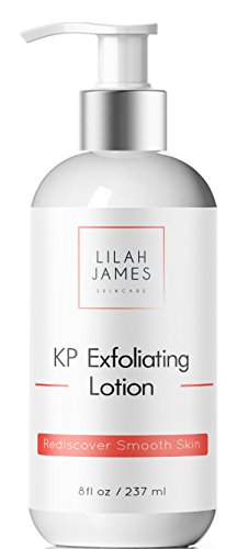 Lilah James KP Exfoliating Lotion 8oz - 14% Glycolic Acid and 2% Salicylic Acid For Smooth Skin, Reduces Red Bumps From Keratosis Pilaris, Fragrance Free
