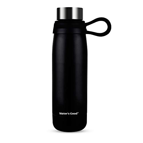 WATER'S GOOD Stainless Steel Vacuum Insulated Sport Water Bottle with Handle, 18 oz Steel Cap Easy Drinking Bottles Black, Keeps Drinks Hot 12 Hours Cold 24 Hours