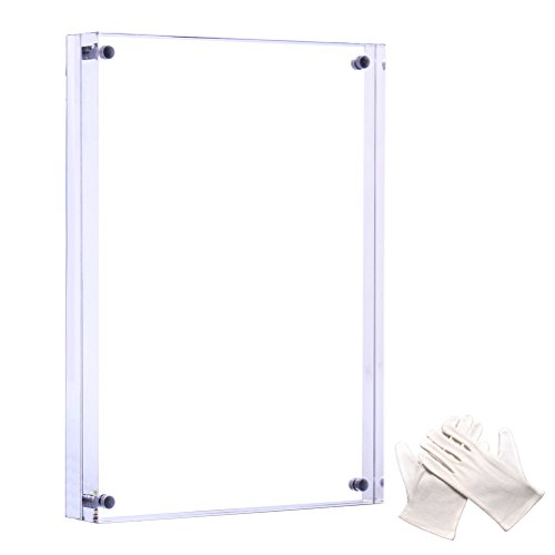 Cozii 6x8 inch Clear Acrylic Picture Frame - 0.95 inch/24 mm Thick,Strong Magnetic Suction Creative Double Highly Transparent Acrylic Frame Desktop Photo Frame (Reviews Christmas Stand Tree Rotating)