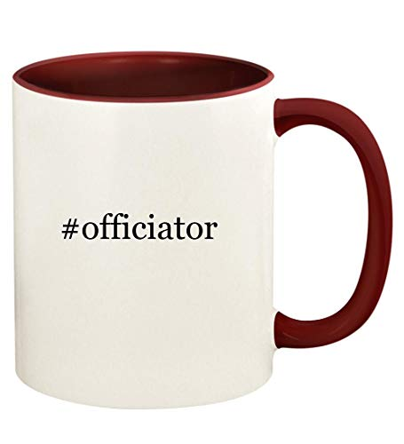 #officiator - 11oz Hashtag Ceramic Colored Handle and Inside Coffee Mug Cup, Maroon