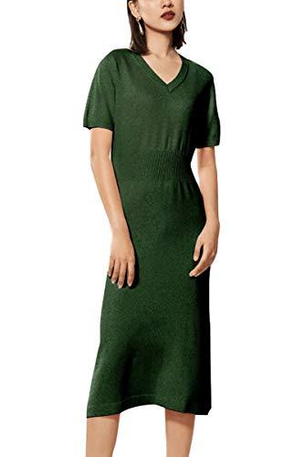 (RanRui Womens Winter Spring Dresses Sweater Dress Cashmere Long Sleeve Elegant midi Dress (S, C-Army Green))
