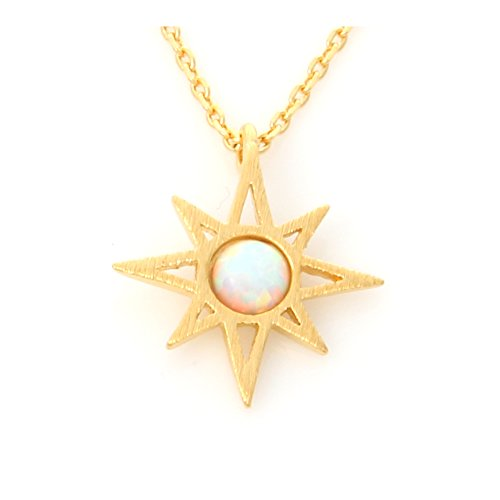 LAONATO Round Opal Sunshine Necklace Gold Plated Brass, 17 inches (White Opal)