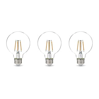 AmazonBasics 60W Equivalent, Clear, Soft White, Dimmable, G25 LED Light Bulb | 3-Pack