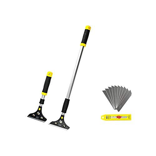PoPoMost Floor Scraper Adjustable Long Handle 10 inch-14.5 inch Razor Blade Scraper Stainless Steel Scraper Blades with 10 PCS Steel Blades for Wallpaper Floor Tile Adhesive Removal