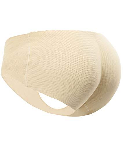 Everbellus Women's Padded Seamless Butt Hip Enhancer Panties Boy Shorts Beige - Girdle At Top Pantyhose The