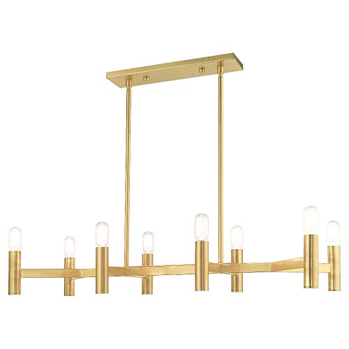 Livex Lighting 51138-12 Copenhagen - Eight Light Linear Chandelier, Satin Brass Finish