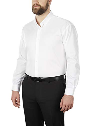 Calvin Klein Men's Big and Tall Dress Shirt Non Iron Solid, White, 19