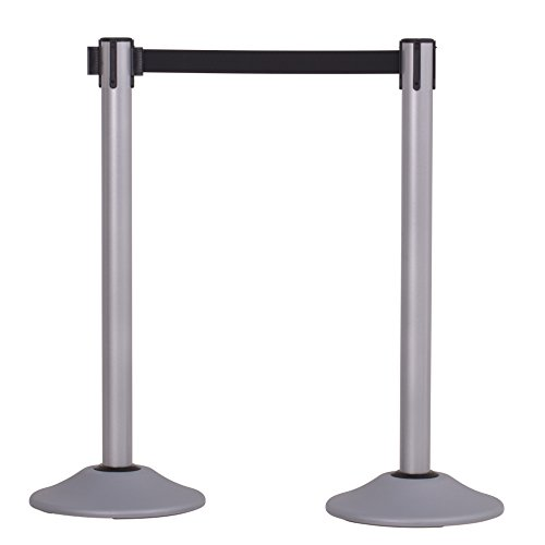 US Weight Heavy Duty Premium Steel Stanchion with Extended 13-Foot Retractable Belt - Silver