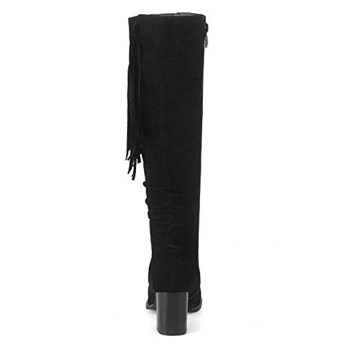 Tacon Moda Alto Con Invierno Razamaza Black Mujer Botas Plisadas Ancho De  w50OXq4 ff4d577c38528