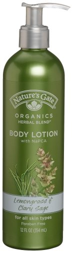 Nature's Gate Organics Body Lotion with NaPCA, Lemongrass & Clary Sage, 12 Ounce (Pack of 3)