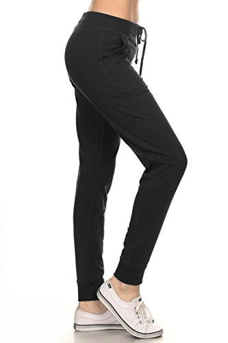 Leggings Depot Women's Ultra Soft French Terry Cotton Blend Drawstring Twill Jogger Cotton Pants
