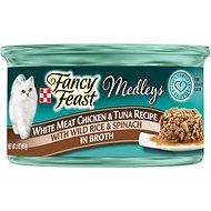 Fancy Feast Medleys Tastemakers White Meat Chicken & Tuna Recipe with Wild Rice & Spinach in Broth, 3-oz, case of 12