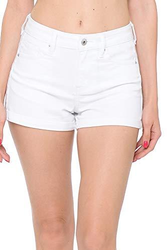 (Urban Look Women's Body Enhancing Denim Shorts (Large, B White))