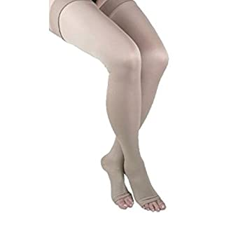 ITA-MED Open Toe Thigh Highs - Compression (25-35 mmHg): H-306(O)(3), Pack of 3, Medium, Beige