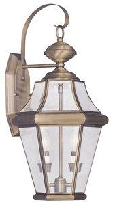Georgetown 2 Light - Livex Lighting 2261-01 Georgetown 2-Light Outdoor Wall Lantern, Antique Brass