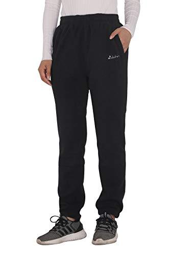 U.mslady Women Casual Loose Polar Fleece Thermal Sweatpants Winter Warm Pants Black M