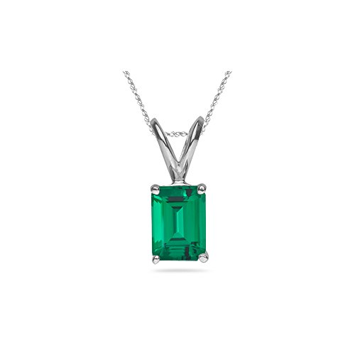 2.10-2.40 Cts of 9x7 mm AAA Emerald Russian Lab Created Emerald Solitaire Pendant in 14K White ()