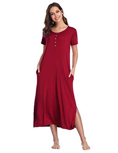 - Lusofie Nightgowns Womens Short Sleeve Nightshirts Soft Button up Sleepwear (Wine Red, M)