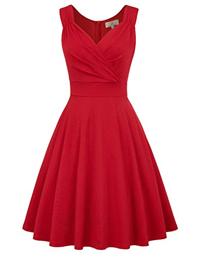 Women's 50s Retro V-Neck Cocktail Evening Party Dress Size 2XL Red CL698-5