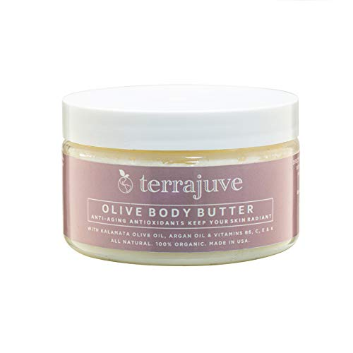 Organic Olive Body Butter Lotion by Terrajuve, with Kalamata Olives, Anti Aging Antioxidants for Radiant Skin, with Argan Oil, Vitamins B6, C, E and K, and Fruit Oils, Pure, All Natural, Made in USA