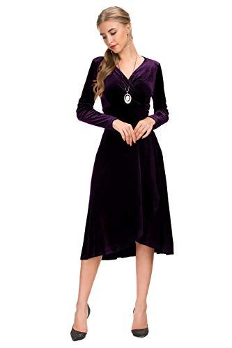 Knee Length Velvet Dress - Le Vonfort Cross V Neck Knee Length Dresses, Gold Velvet Long Sleeve Stretchy Breathable Night Out Club Dress Purple Medium