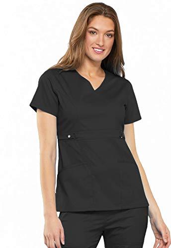 Cherokee Women's Scrubs Luxe Jr. Fit Mock Wrap Top, Black, - Wrap Mock