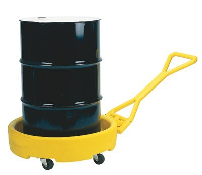 Mobile Unit Dispensing (Eagle 1613 Yellow Polyethylene Mobile Dispensing Drum Bogie with Push Pull Handle, 1375 lbs Load Capacity, 35.75