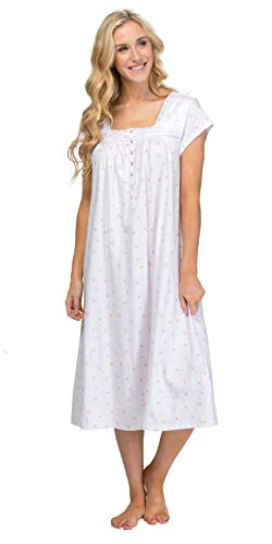 (Eileen West Cotton Knit Nightgown - Cap Sleeve Long in Sweet Roses (White/Pink/Orange, Large))