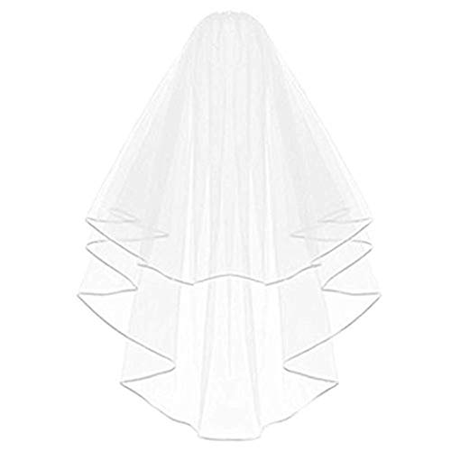 Graceprom Bridal Shoulder Length Veil with Comb Wedding Accessories Double Ribbon Edge Bridal Veils for Wedding (White)