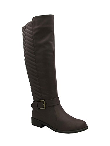 Kristen-101 Women Flat Boots with Buckle and Bakck Quilt Brown 6