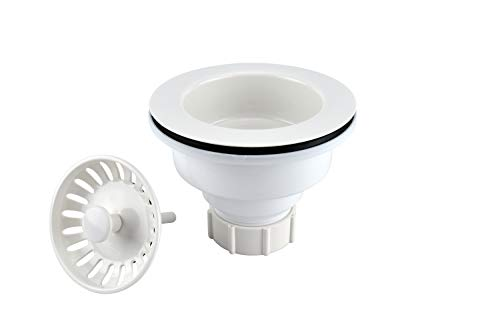 Keeney K1442WH Deep Cup Sink Strainer with Fixed Post Basket, White