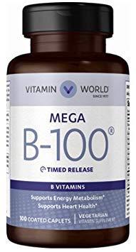 Vitamin World Mega B-100, Supports Energy Metabolism, Supports Heart Health, Vegetarian Vitamin Supplement, 100 Coated Caplets