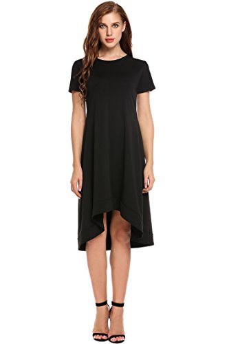Asymetrical Hem Dress - BEAUTYTALK Women's Scoop-Neck Solid Short-Sleeve High-Low Fit-and-Flare Dress, Black, X-Large