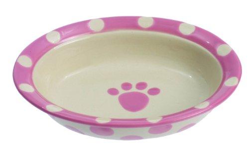 """Petrageous Designs Polka Paws 6.25 """"Cuenco ovalado para mascota, Rosa"""