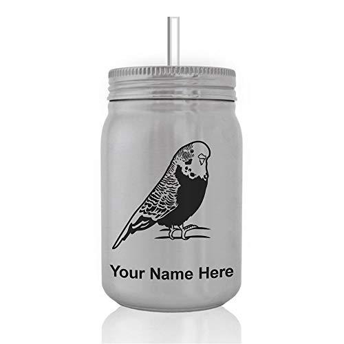 Mason Jar Sports Bottle, Parakeet, Personalized Engraving Included