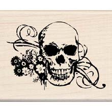 Inkadinkado Wood Mounted Rubber Stamp DD, Skull with Flourish (Rubber Stamps Flourish)