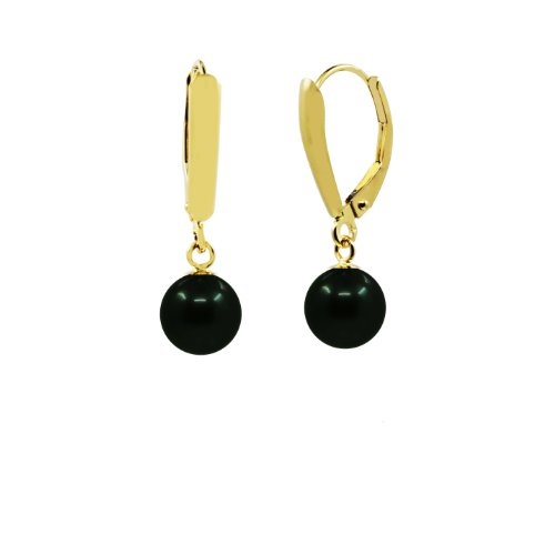 14k-Yellow-Gold-75-80mm-High-Luster-Akoya-Cultured-Pearl-Lever-back-Earring-Black-with-Peacock-tone