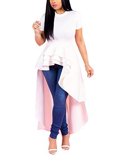 SEBOWEL Women Ruffle High Low Asymmetrical Short Sleeve Peplum Tops Blouse Shirt Dress White 2XL