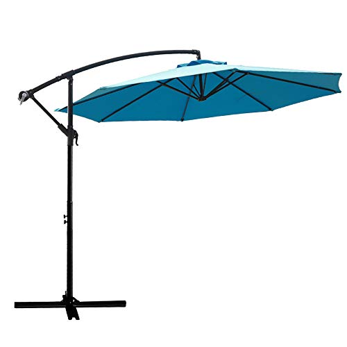 - FLAME&SHADE 10' Hanging Offset Outdoor Cantilever Patio Umbrella for Large Balcony Table Deck Terrace or Pool, Aqua Blue