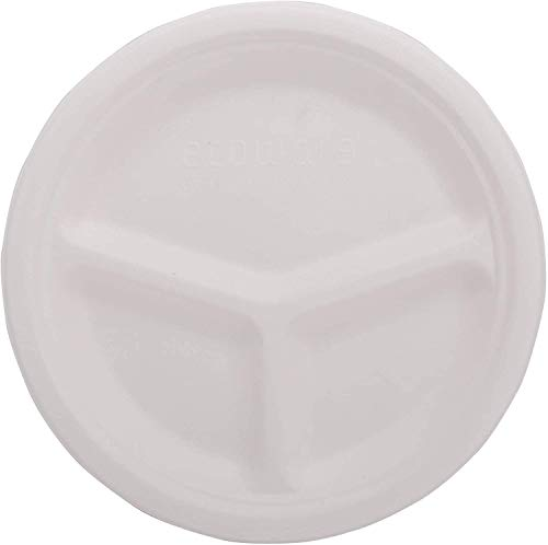ECOWARE:100% Natural, Biodegradable, Compostable, Ecofriendly, Safe & Hygienic Disposable 10 inch 3-Compartment Round Plate (Pack of 50 Plates)