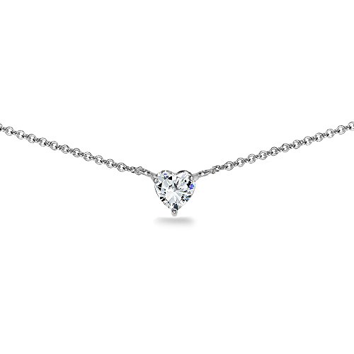 GemStar USA Sterling Silver 6mm Heart Choker Necklace for Women Girls Made with Swarovski Zirconia