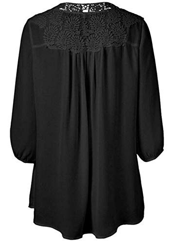 Cou lgant Costume Huixin Chic Fashion Haut Femme Shirt Dentelle Longues V Blouse Manches Unicolore avec Longue Confortable Manche Noir Large Shirt Doux Automne Tee Printemps Txf0UTn8