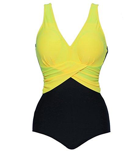 Eternatastic Women's Retro V-Neck Swimwear One Piece Swimsuit Monokini 3XL Yellow
