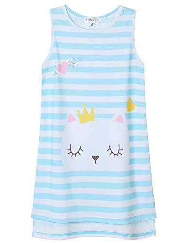 Perfashion Girls Nightgowns 7-16 Cute Kitty Sleepwear Sleeveless Cotton Princess Pajama Dresses
